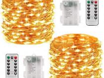 2x seturi instalatii LED 10m 100LED telecomenzi, decoratiuni