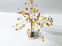 Pomisor portocaliu, galben, decorativ handmade din margele