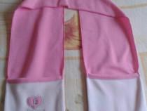 Fular nou alb cu roz