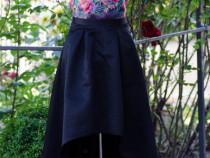 Rochie neagră cu model floral, mărimea 36(S)