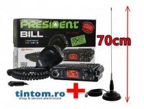 Statie Radio CB President BILL 4W + Antena Radio CB ML70