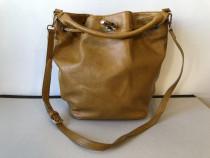 Geanta tip sac din piele ecologica, culoare maro caramel