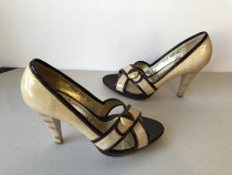 Pantofi-sanda decupati, din piele ecologica, galben–crem si