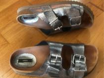 Papuci piele sandale Mango stil Birkenstock
