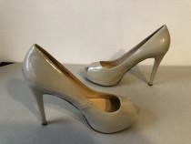 Pantofi peep toe Guess, originali, din piele naturala lacuit