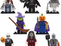 Set 8 minifigurine tip Lego cu personaje de Halloween