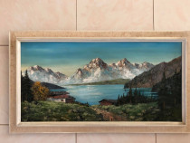 Tablou - pictura ulei pe panza - peisaj montan