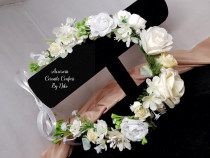 Coronita mireasa din flori artificiale