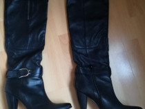 Cizme negre din piele,lungi,toc 10 cm,Condur