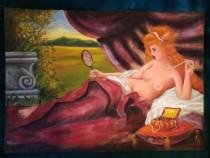 Tablou semi nud-Fata cu oglinda, pictura in ulei pe panza