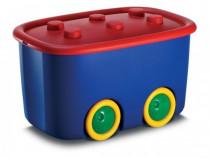 Cutie depozitare jucarii FUNNY BOX 46 L, rosu cu albastru