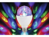 Bec disco rotativ,unghi 120grade,lumina multicolora,E27,nou.