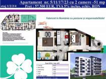 Apartament 2 camere decomandat, 51 mp, Nicolina, Bloc Nou