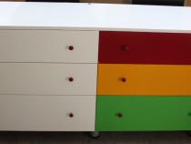 Comoda TV colorata cu 6 sertare; Dulap camera copilului