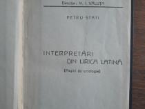 Interpretari din lirica latina - Petru Stati, 1935, autograf