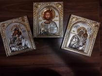 Icoană ortodoxă bizantină, laminată cu argint pur 999