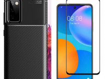 Husa Carbon + Folie Sticla Huawei P MSRTAZ / 2021 / NOVA 5T