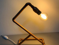 Lampa / Veioza de birou din teava de cupru
