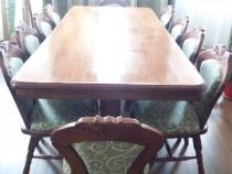 Masa sufragerie lemn masiv stejar+10 scaune tapitate