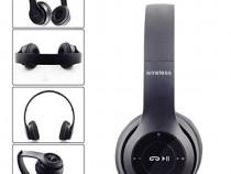 Casti wireless MRG P47 Negru cu bluetooth microfon C281