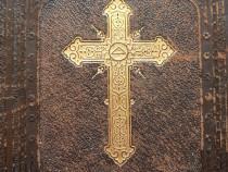 Biblie veche rarā cu copertă de piele in germanā