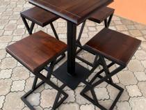 Masa de Bar cu Scaune Metalice - Lemn Masiv ~ Bistro-HoReCa