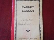 Carnet scolar an 1929 document de colectie