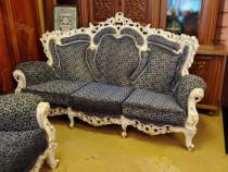 Canapea cu 4 fotolii stil baroc alba