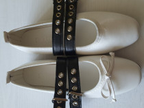 Pantofi albi cu catarame mar.35