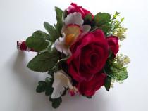 Buchet trandafiri si orhidee