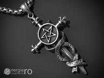 Pandantiv Pentagrama pe Pumnal Pentaclu Fortuna INOX PND034