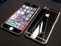 Folie sticla iphone 6 6s plus tunning negru oglinda fata+spa
