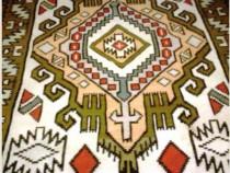 Covor vechi de 100ani, lana naturala, tesut manual la razboi