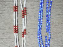 Margele / Lant / Colier bleu si alb murdar cu rosu - Nou