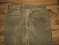 Pantaloni piele intoarsa culoare frumoasa crem-maro