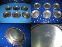 6 Farfurioare vechi mici marca Reinzinn WMF, 7 cm.