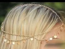 Lant de cap auriu cu model cerculete mici