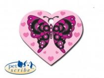 Medalion Inima Mare Pet Scribe Roz Fluture