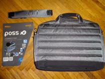 Geanta dubla-laptop,5 partaje, 10 buzunare. noua