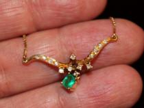 Colier Antic Aur 18k Cu Smaragd Si Briliante reducere