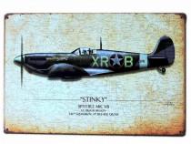 Semn / Poster metalic vintage avion Spitfire Stinky 20x30 cm