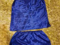 Set maieu+sort satin albastru royal, măsura S