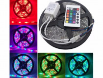 Banda LED RGB Cu Telecomanda Tip 3528 5 m cu Dublu Adeziv