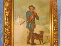 7314-Tablou antic personaj cu caine-peisaj de iarna la tara.