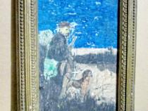 4023-Vanator cu caine-tablou mic vechi acuarela- creion 1930