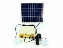 Panou solar 18,5 x 34,5 cm + baterie + 2 becuri 12V