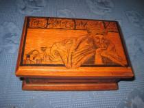 3911-Caseta turceasca design in tus malerei negru lemn masiv