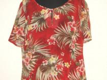 Costum nou, din vascoza colorata, cu imprimeu floral exotic