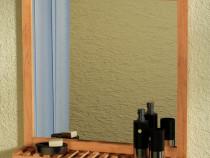 Oglindă de baie cu raft din lemn (243111)