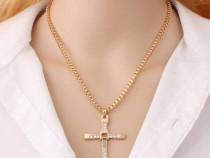 Lantisoare Cruciulita Jesus/ Gold Steel